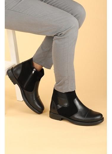 Ayakland Ayakland 640 Termo Taban ıçi Kürklü Fermuarlı Erkek Bot Ayakkabı Siyah